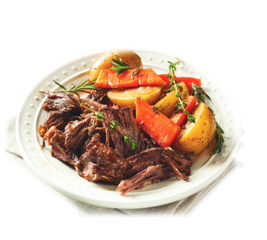 slow roast organic pureland beef in crockpot with potatoes and carrots