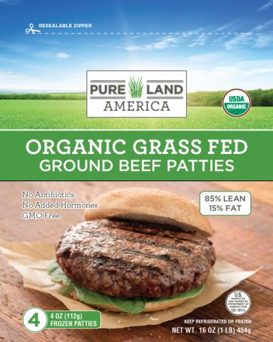 pureland america frozen organic burger patties with spinach